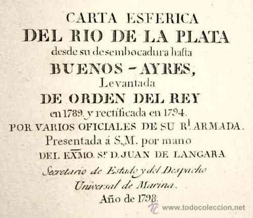 1798 - Carta Esferica RIO DE LA PLATA 93x62cm Buenos Aires Nautical Chart - Map