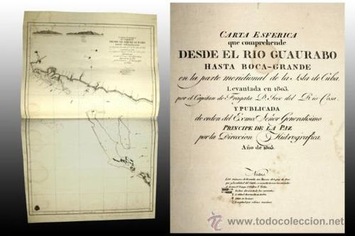 1805 Carta Esferica CUBA RIO GUAURABO 98x62c ORIGINAL Spanish Nautical Chart Map